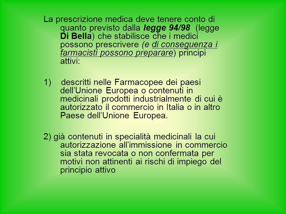 La prescrizione medica deve tenere conto di quanto previsto dalla legge 94/98 (legge Di Bella) che stabilisce che i medici possono prescrivere (e di conseguenza i farmacisti possono preparare) principi attivi: