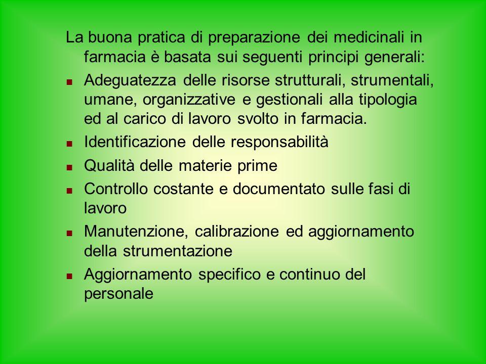 La buona pratica di preparazione dei medicinali in farmacia è basata sui seguenti principi generali: