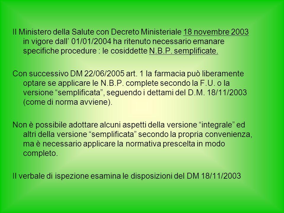 Il Ministero della Salute con Decreto Ministeriale 18 novembre 2003 in vigore dall' 01/01/2004 ha ritenuto necessario emanare specifiche procedure : le cosiddette N.B.P. semplificate.