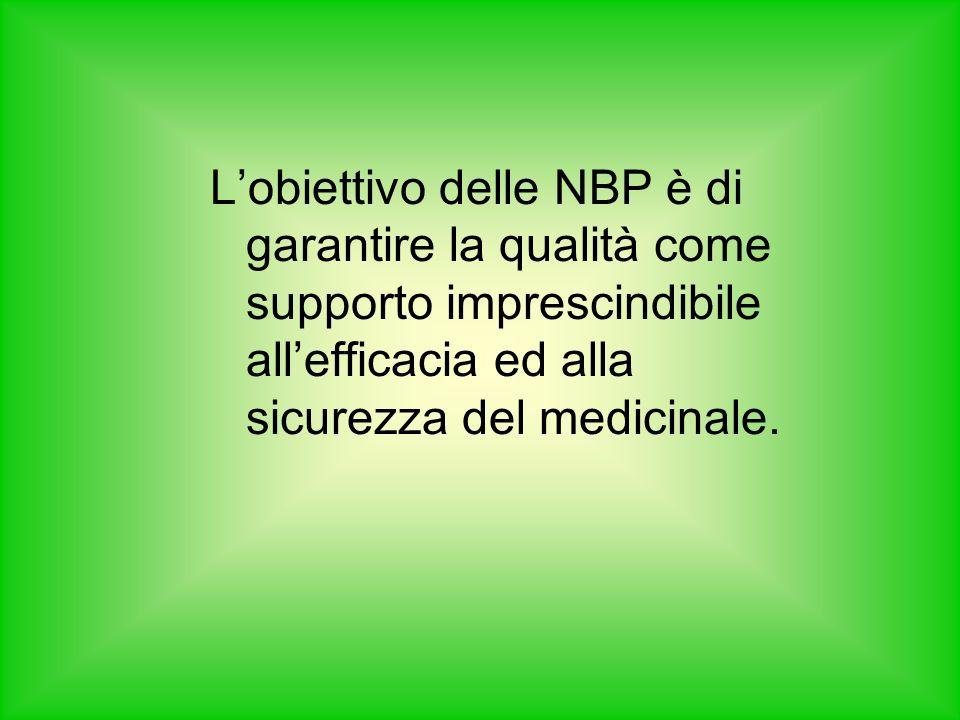L'obiettivo delle NBP è di garantire la qualità come supporto imprescindibile all'efficacia ed alla sicurezza del medicinale.