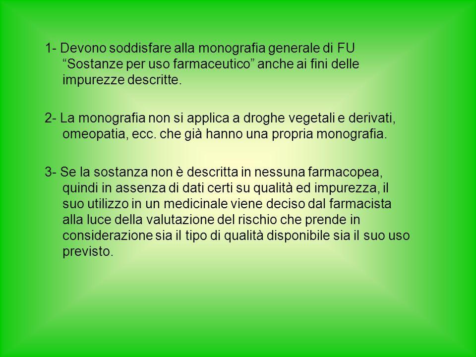 1- Devono soddisfare alla monografia generale di FU Sostanze per uso farmaceutico anche ai fini delle impurezze descritte.