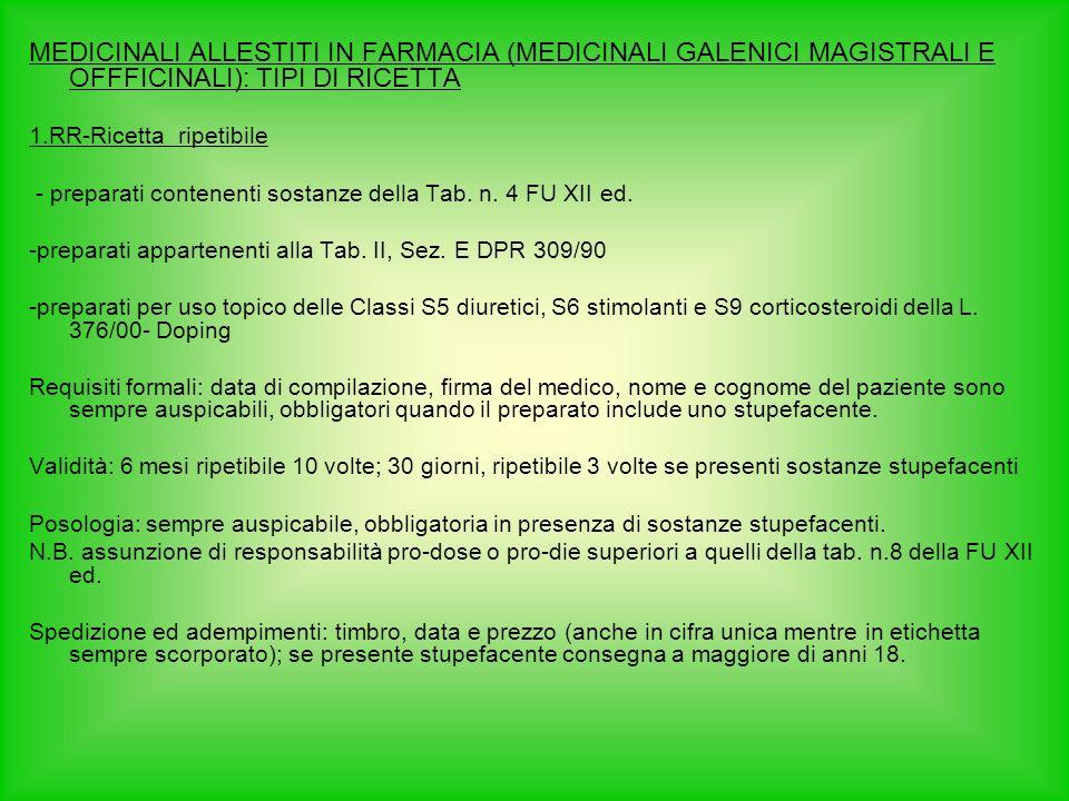 MEDICINALI ALLESTITI IN FARMACIA (MEDICINALI GALENICI MAGISTRALI E OFFFICINALI): TIPI DI RICETTA