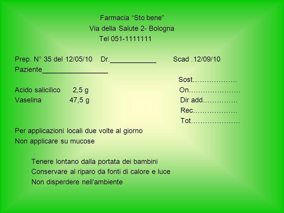 Farmacia Sto bene Via della Salute 2- Bologna Tel 051-1111111