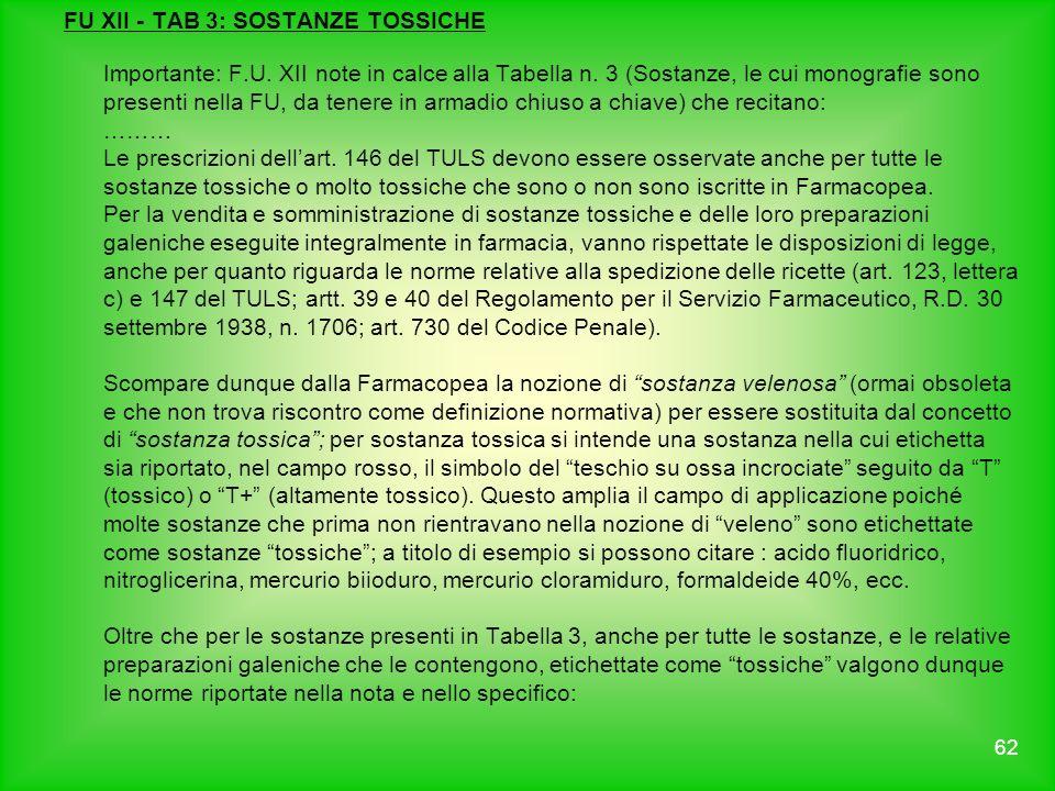 FU XII - TAB 3: SOSTANZE TOSSICHE