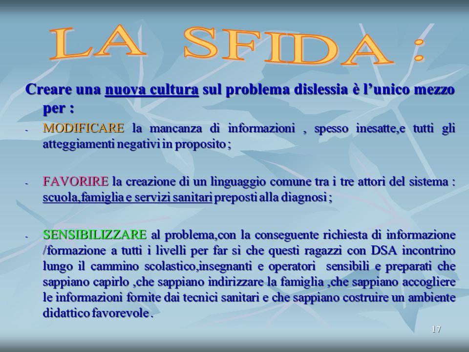 LA SFIDA : Creare una nuova cultura sul problema dislessia è l'unico mezzo per :