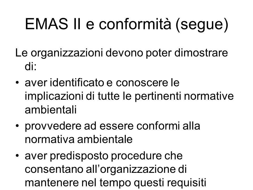 EMAS II e conformità (segue)