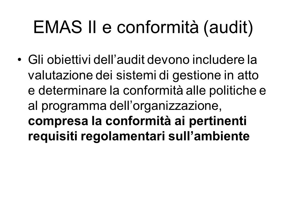 EMAS II e conformità (audit)