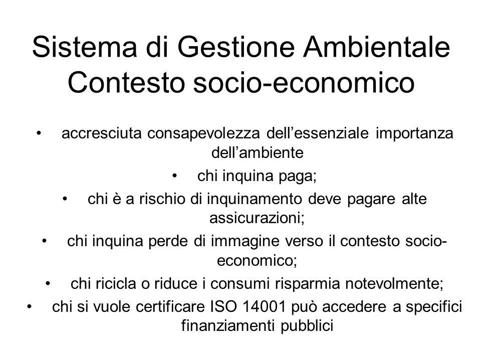 Sistema di Gestione Ambientale Contesto socio-economico