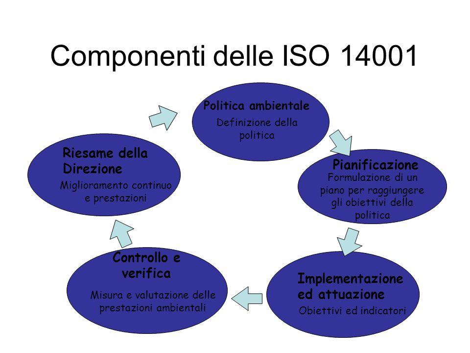 Componenti delle ISO 14001 Riesame della Direzione Pianificazione