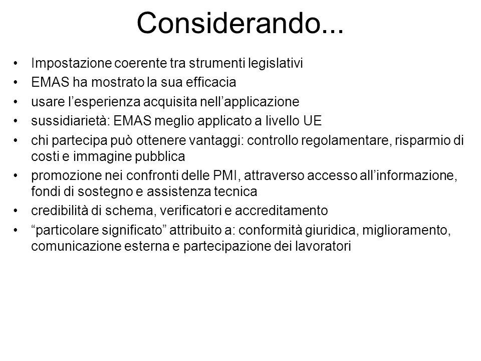 Considerando... Impostazione coerente tra strumenti legislativi