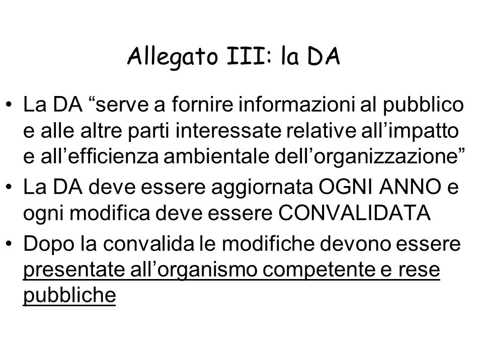 Allegato III: la DA