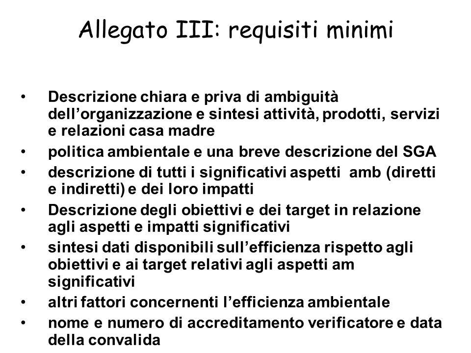 Allegato III: requisiti minimi