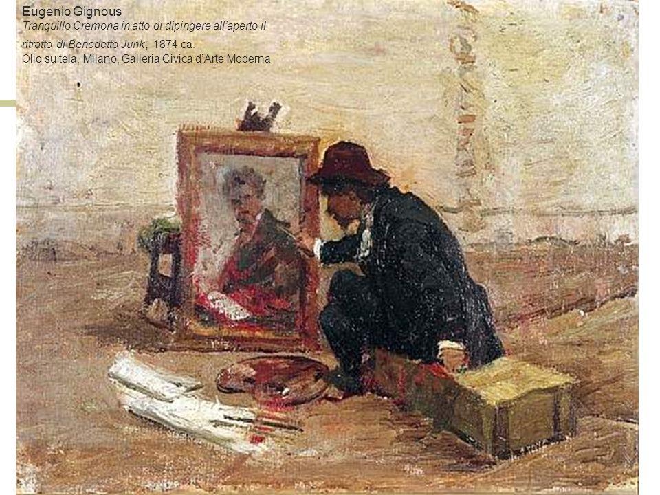 Eugenio Gignous Tranquillo Cremona in atto di dipingere all'aperto il ritratto di Benedetto Junk, 1874 ca.