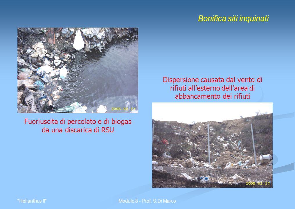 Fuoriuscita di percolato e di biogas da una discarica di RSU