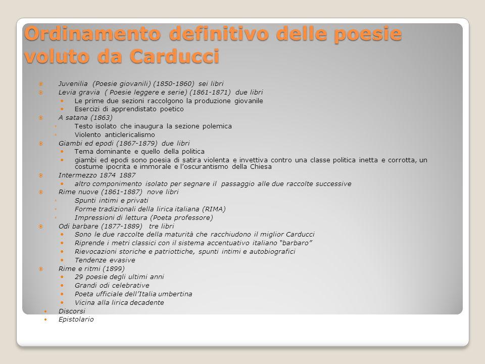 Ordinamento definitivo delle poesie voluto da Carducci