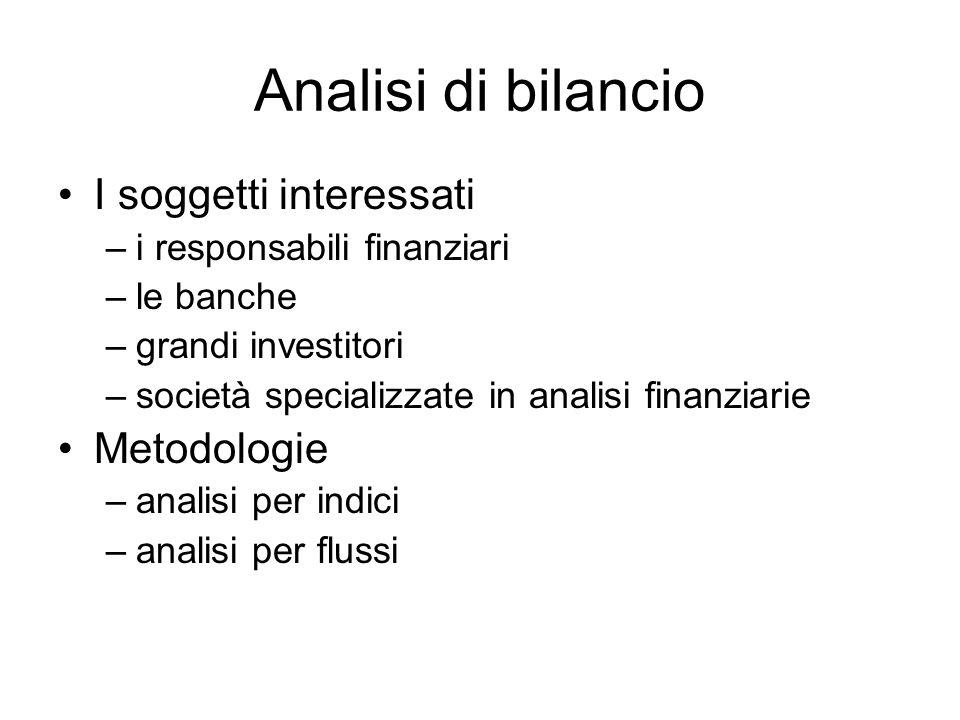 Analisi di bilancio I soggetti interessati Metodologie