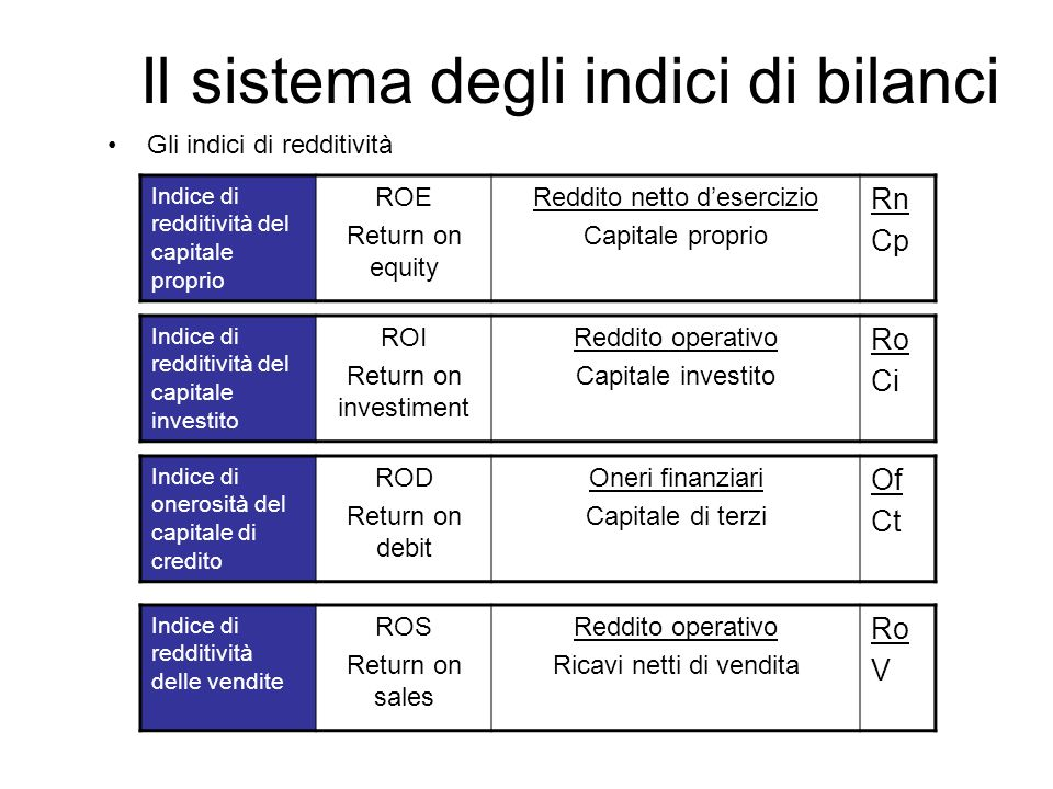 Il sistema degli indici di bilanci