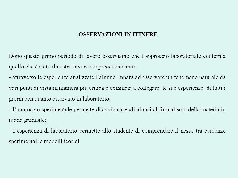 OSSERVAZIONI IN ITINERE