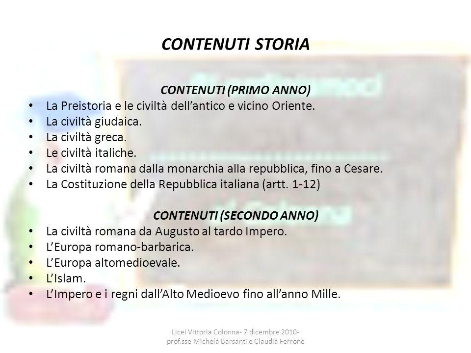 CONTENUTI STORIA CONTENUTI (PRIMO ANNO)