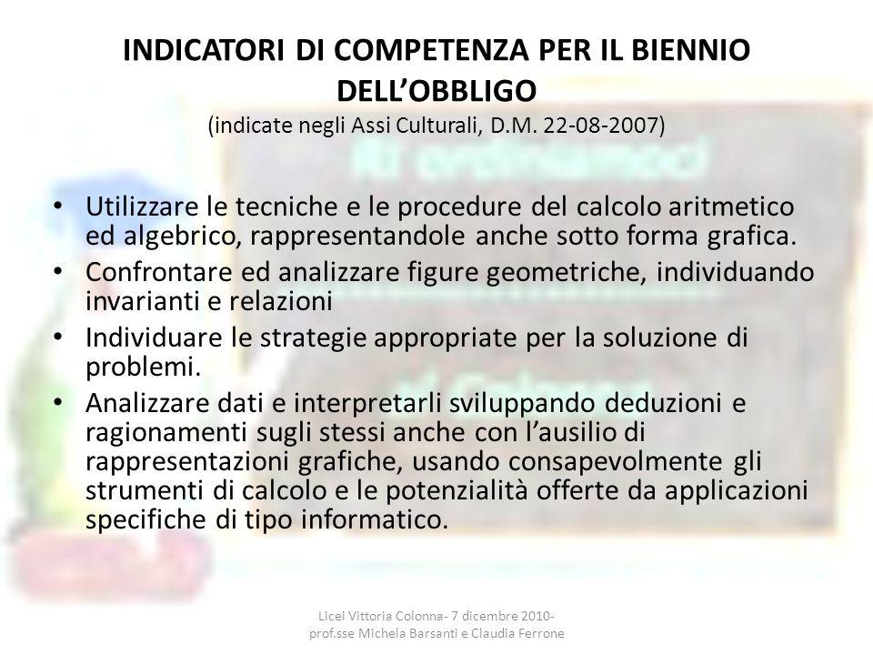 INDICATORI DI COMPETENZA PER IL BIENNIO DELL'OBBLIGO (indicate negli Assi Culturali, D.M. 22-08-2007)