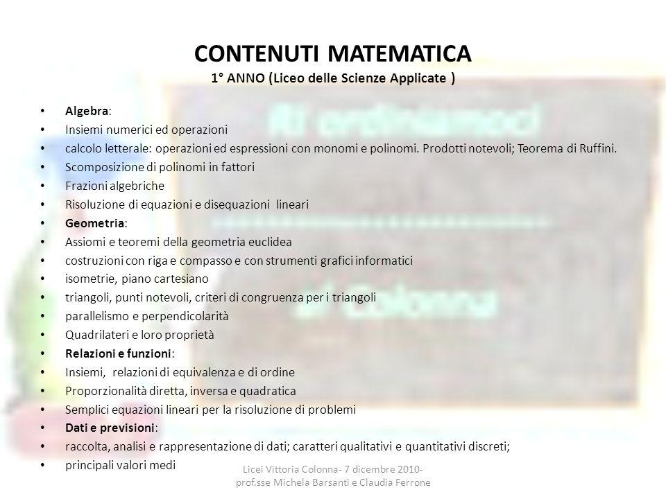 CONTENUTI MATEMATICA 1° ANNO (Liceo delle Scienze Applicate )