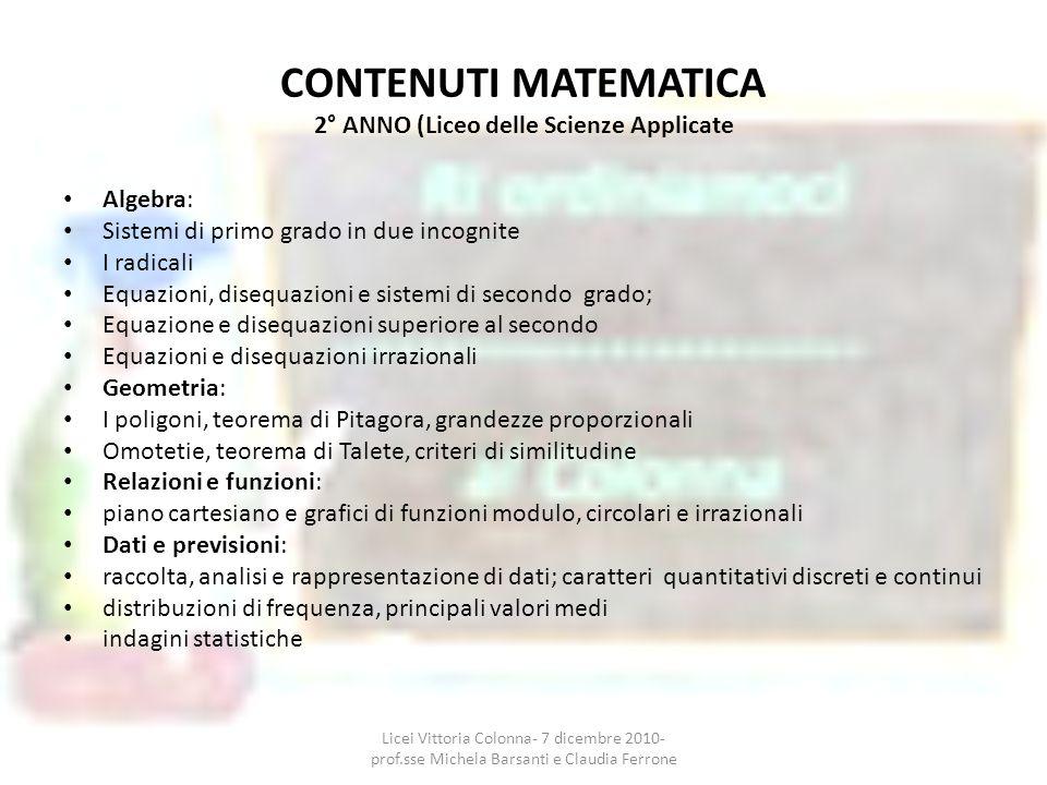 CONTENUTI MATEMATICA 2° ANNO (Liceo delle Scienze Applicate