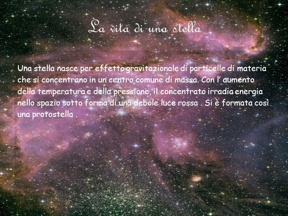 La vita di una stella Una stella nasce per effetto gravitazionale di particelle di materia.