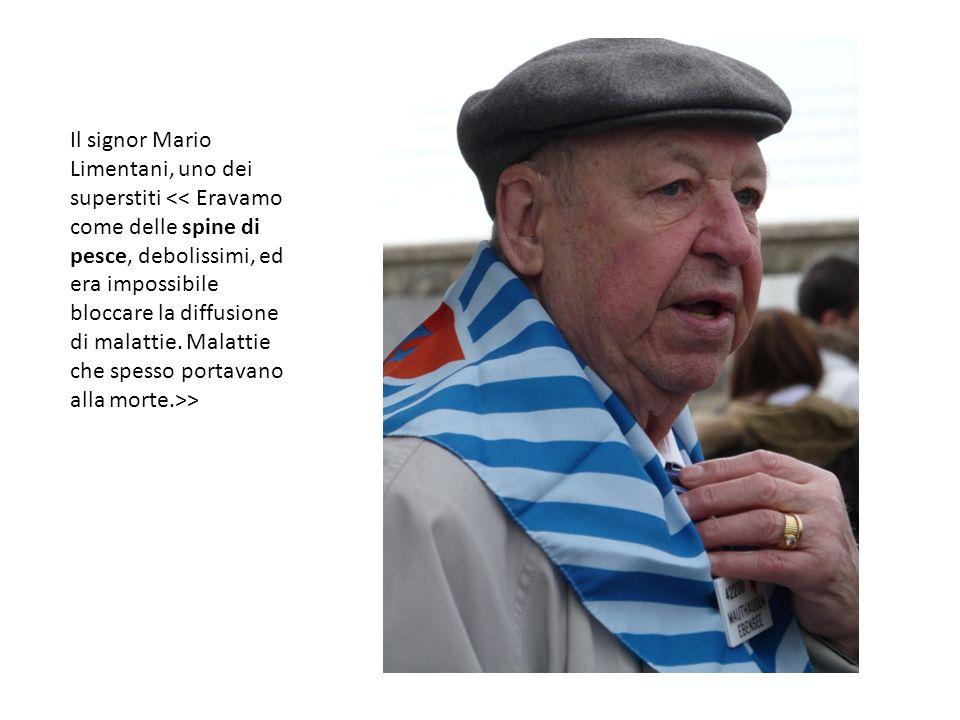 Il signor Mario Limentani, uno dei superstiti << Eravamo come delle spine di pesce, debolissimi, ed era impossibile bloccare la diffusione di malattie.