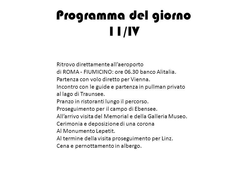 Programma del giorno 11/IV