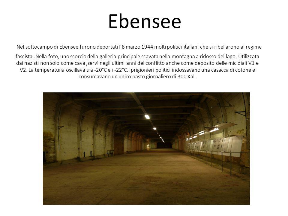 Ebensee Nel sottocampo di Ebensee furono deportati l'8 marzo 1944 molti politici italiani che si ribellarono al regime fascista..Nella foto, uno scorcio della galleria principale scavata nella montagna a ridosso del lago.