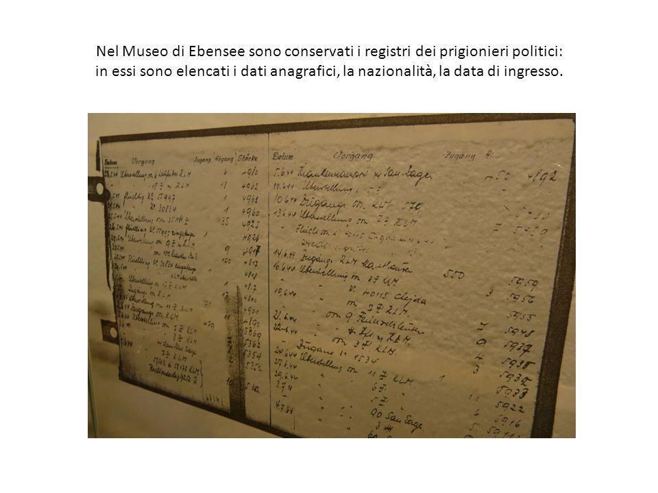 Nel Museo di Ebensee sono conservati i registri dei prigionieri politici: in essi sono elencati i dati anagrafici, la nazionalità, la data di ingresso.
