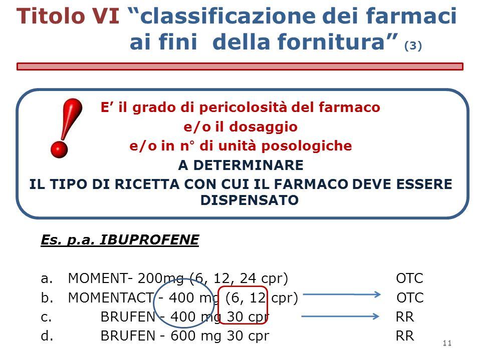 Titolo VI classificazione dei farmaci ai fini della fornitura (3)