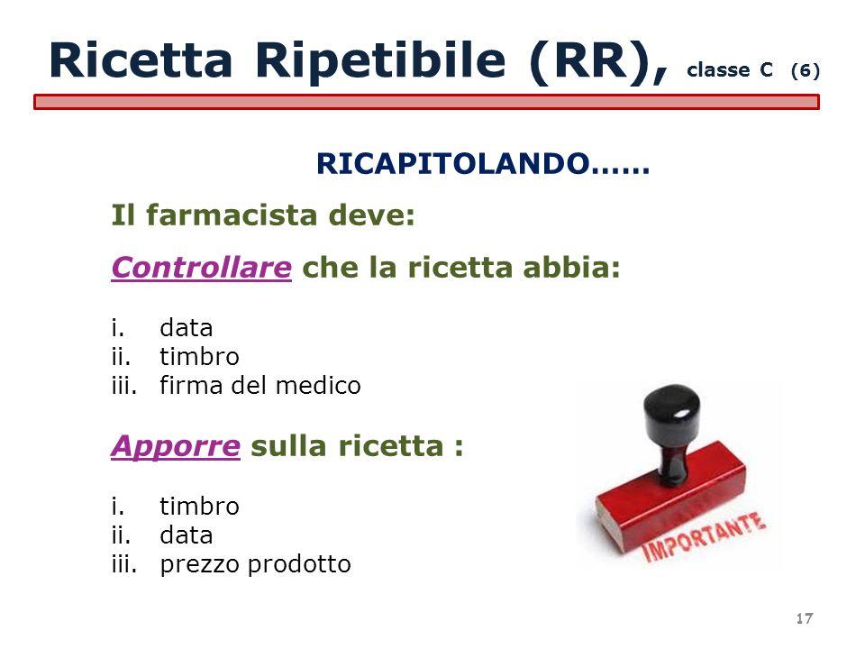 Ricetta Ripetibile (RR), classe C (6)