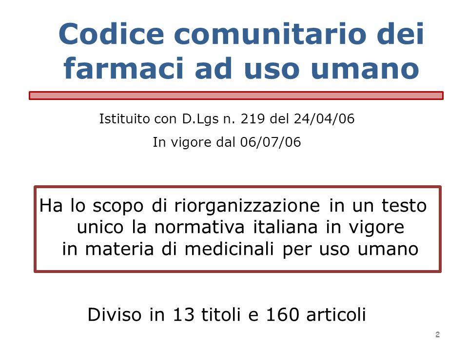 Codice comunitario dei farmaci ad uso umano