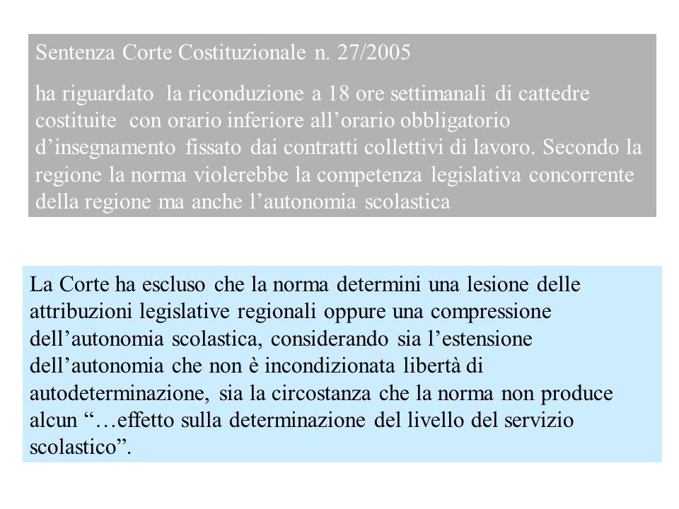 Sentenza Corte Costituzionale n. 27/2005