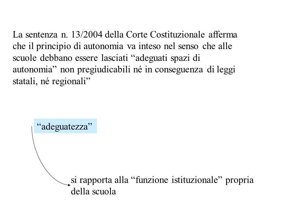 La sentenza n. 13/2004 della Corte Costituzionale afferma che il principio di autonomia va inteso nel senso che alle scuole debbano essere lasciati adeguati spazi di autonomia non pregiudicabili né in conseguenza di leggi statali, né regionali