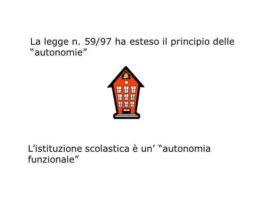 La legge n. 59/97 ha esteso il principio delle autonomie