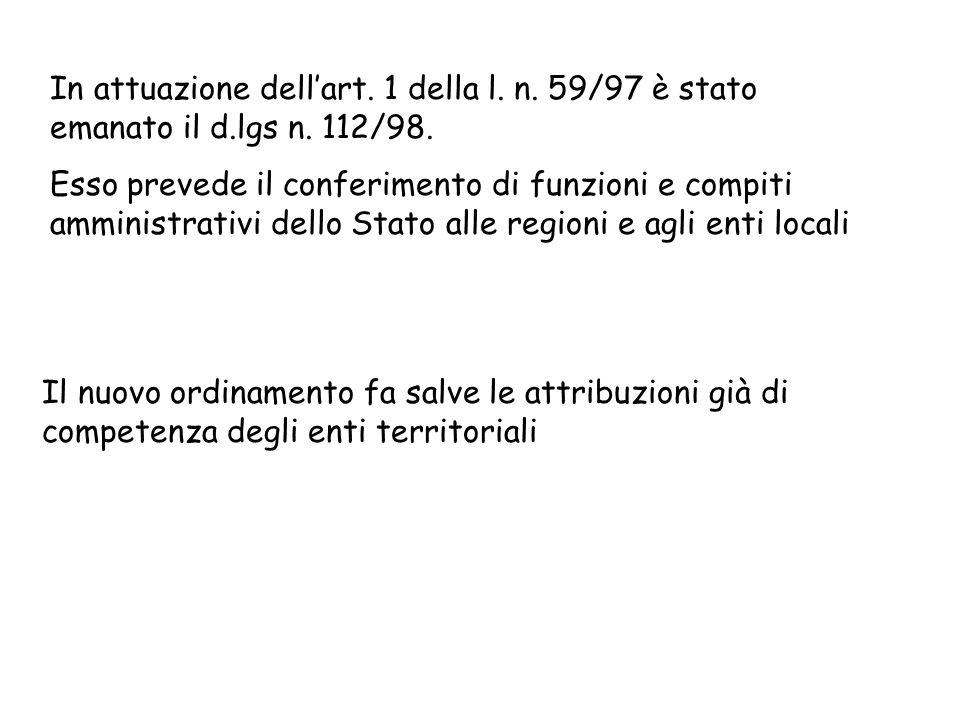 In attuazione dell'art. 1 della l. n. 59/97 è stato emanato il d.lgs n. 112/98.