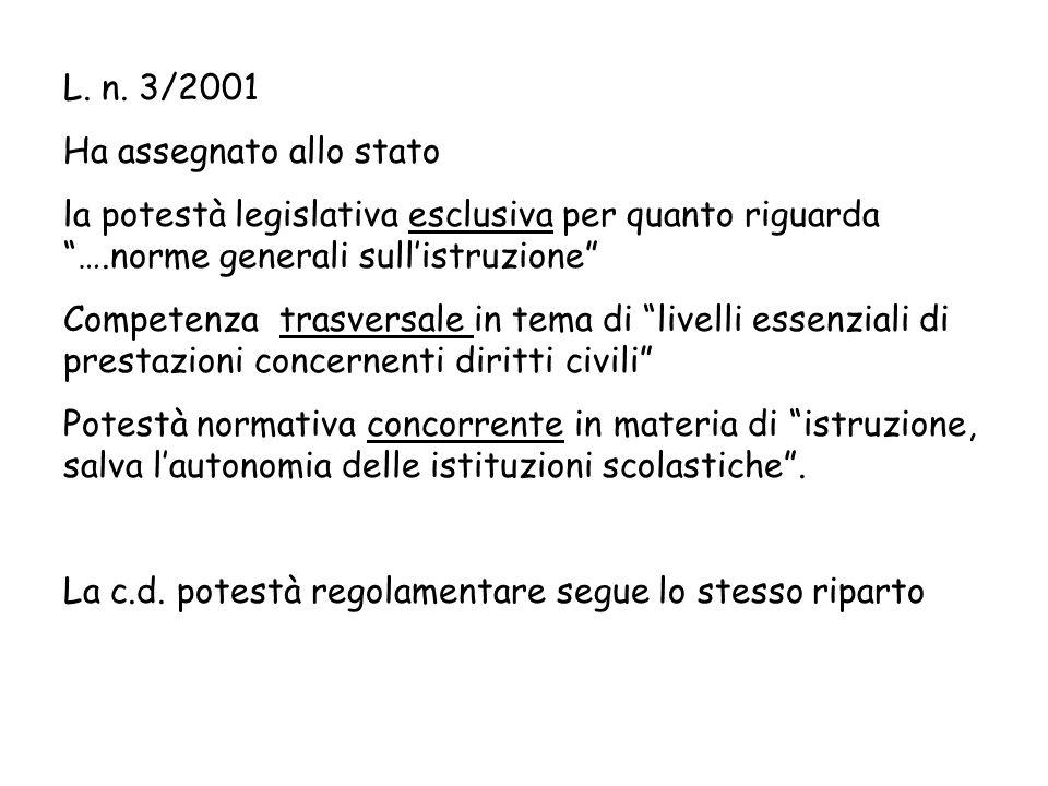 L. n. 3/2001 Ha assegnato allo stato. la potestà legislativa esclusiva per quanto riguarda ….norme generali sull'istruzione