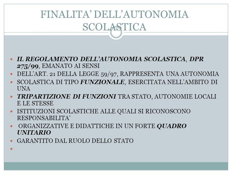 FINALITA' DELL'AUTONOMIA SCOLASTICA