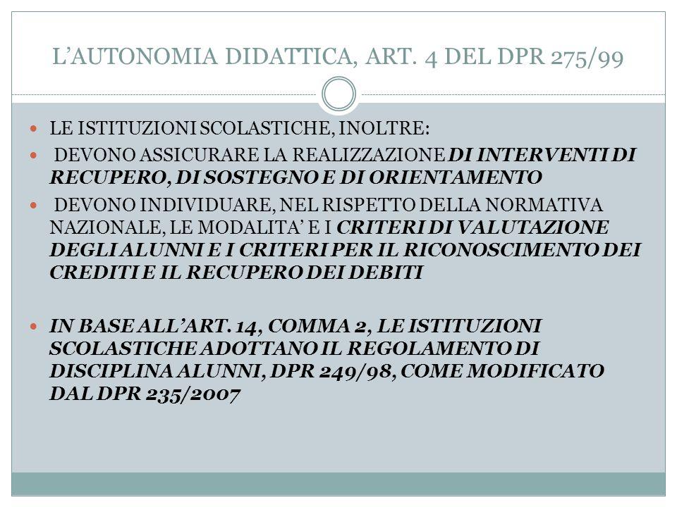 L'AUTONOMIA DIDATTICA, ART. 4 DEL DPR 275/99