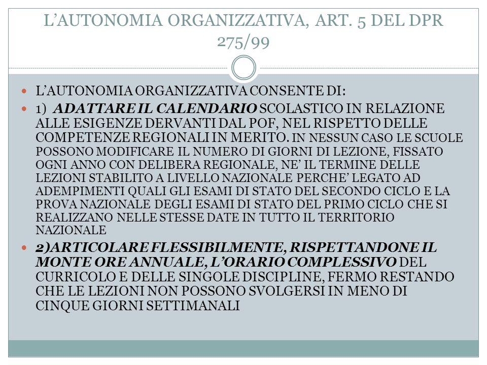 L'AUTONOMIA ORGANIZZATIVA, ART. 5 DEL DPR 275/99