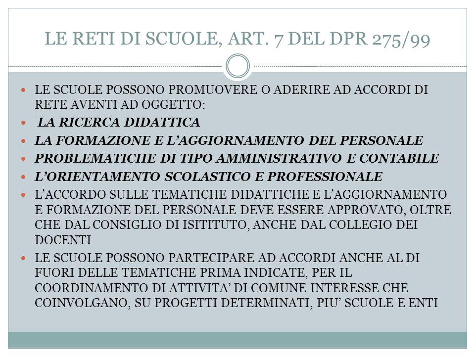 LE RETI DI SCUOLE, ART. 7 DEL DPR 275/99
