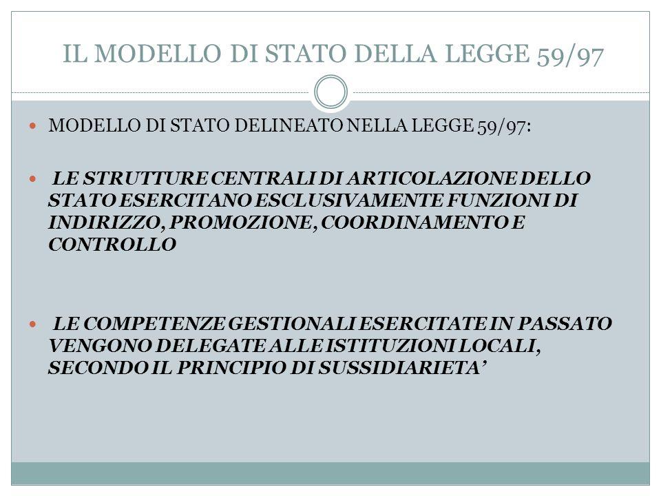 IL MODELLO DI STATO DELLA LEGGE 59/97