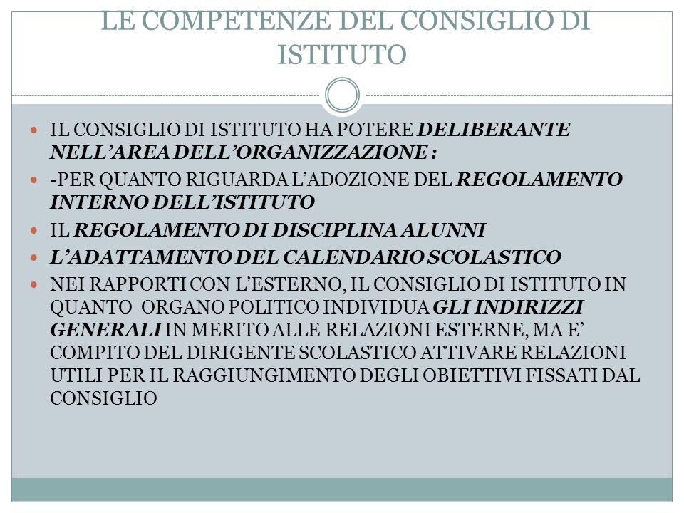LA STRUTTURA ORGANIZZATIVA DELLA SCUOLA AUTONOMA LE COMPETENZE DEL CONSIGLIO DI ISTITUTO