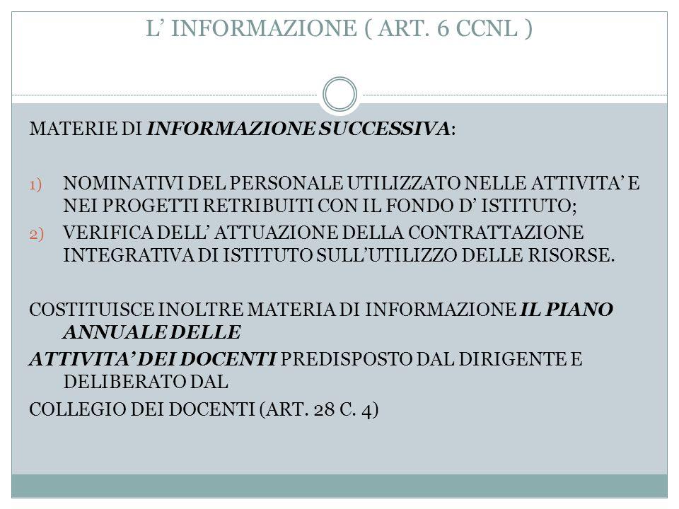 L' INFORMAZIONE ( ART. 6 CCNL )