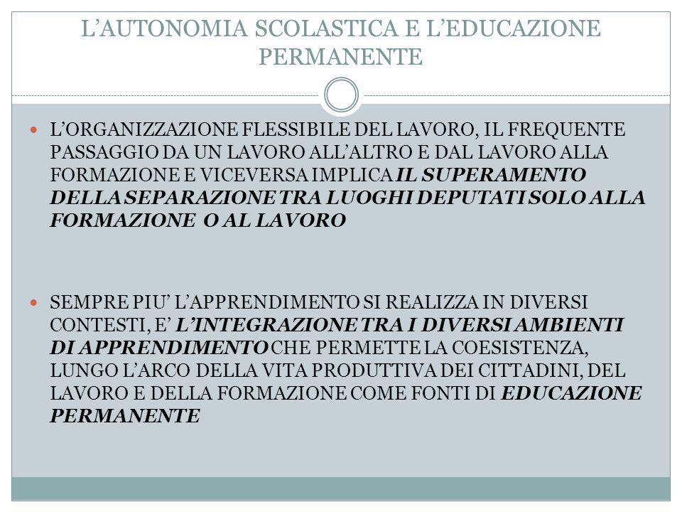 L'AUTONOMIA SCOLASTICA E L'EDUCAZIONE PERMANENTE