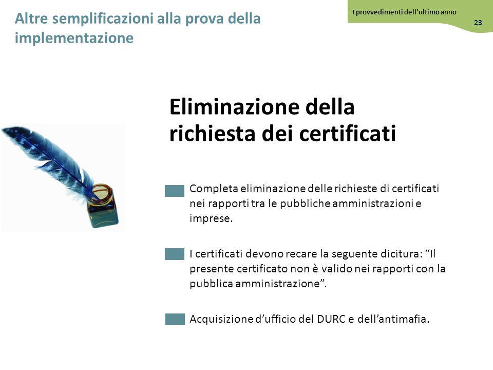 Eliminazione della richiesta dei certificati