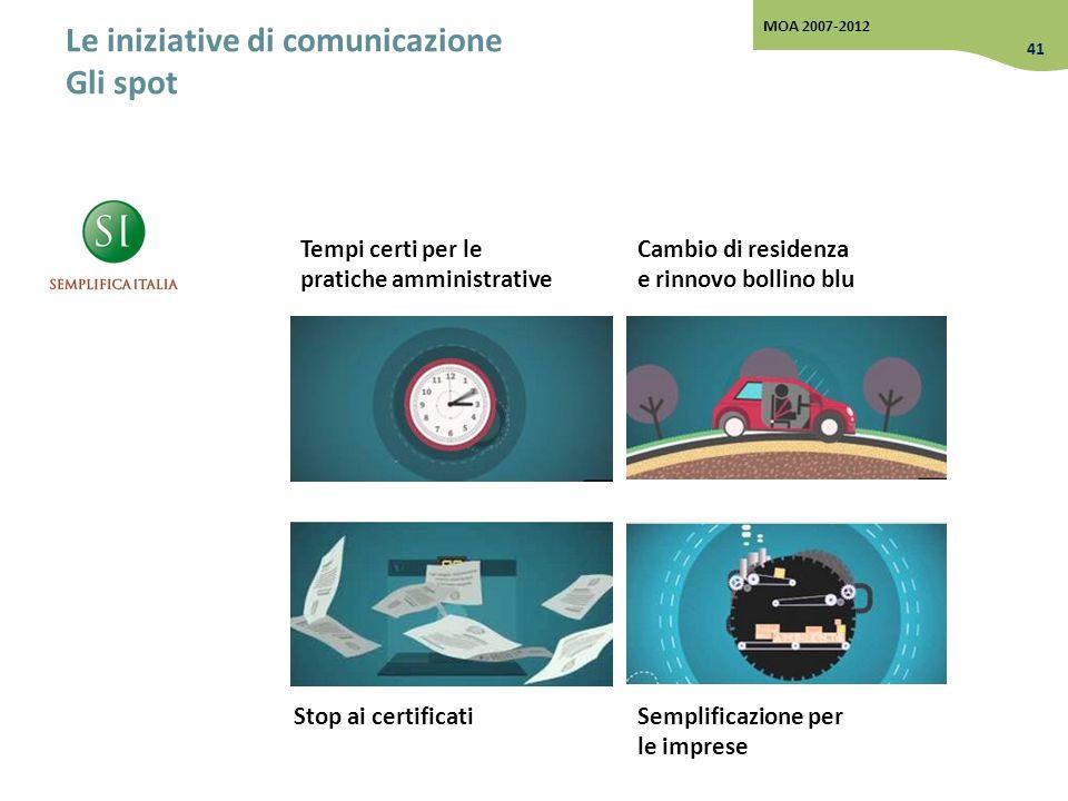 Le iniziative di comunicazione Gli spot