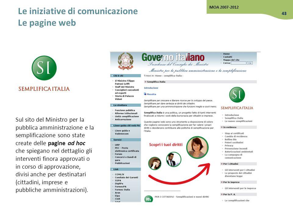 Le iniziative di comunicazione Le pagine web